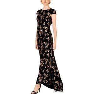 Cap-Sleeve Sequin Gown, Gold/Black Velvet